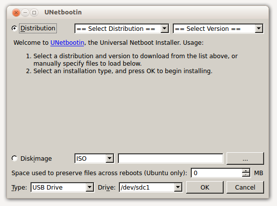 USB Bootable Ubuntu - Fedora Choose Distro to download
