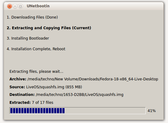 USB Bootable Fedora - In Progress