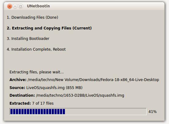 USB Bootable Fedora - In Progress
