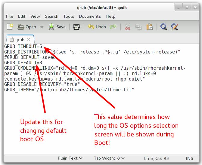 Grub 2 Configurations File in Fedora