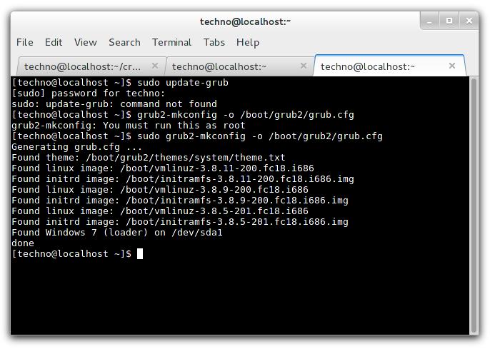 Update and Regenerate Grub 2 in Fedora
