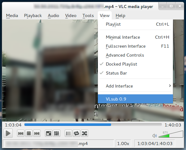 Open VLSub extension in VLC Media Player