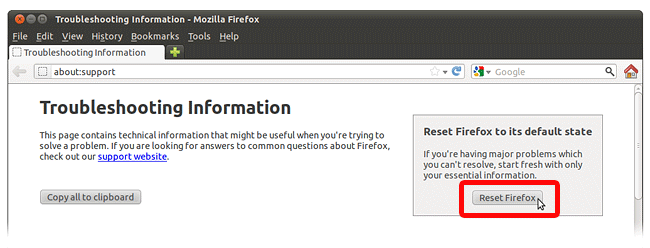 Reset Firefox Data