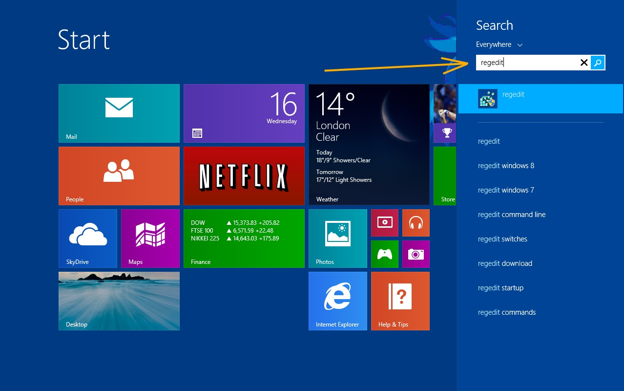 Start Regedit Windows 8