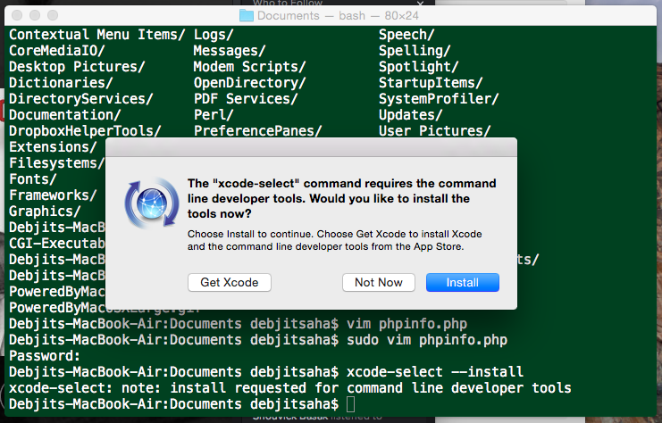 xcode developer tools install